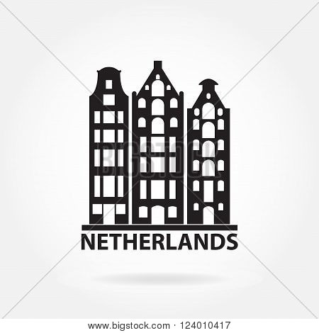 Netherlands and Amsterdam symbol. Old buildings in European style. Dutch landscape symbol. Vector icon or sign.