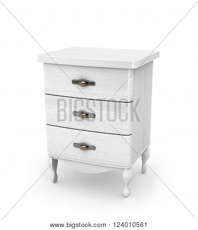 High white cabinet on legs isolated on white