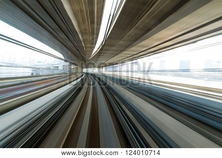Train passing though the tunnel