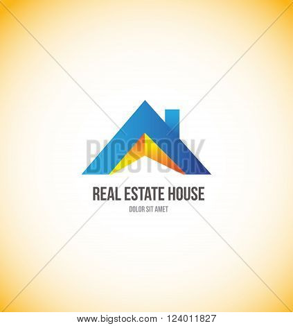 Vector company logo icon element template real estate house 3d home roof residential property construction