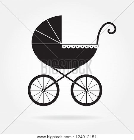 Pram icon or sign. Baby carriage in old style. Vector illustration.