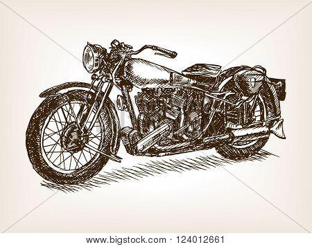 Retro motorcycle vehicle sketch style vector illustration. Old engraving imitation. Vintage motorcycle hand drawn sketch imitation