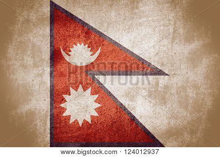 flag of Nepal or Nepalese banner on rough pattern background