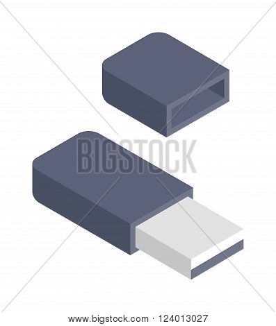 Flash drive vector illustration. Flash drive isolated on white background. Flash drive isolated vector icon illustration. Flash drive isolated vector. Flash drive isolated silhouette