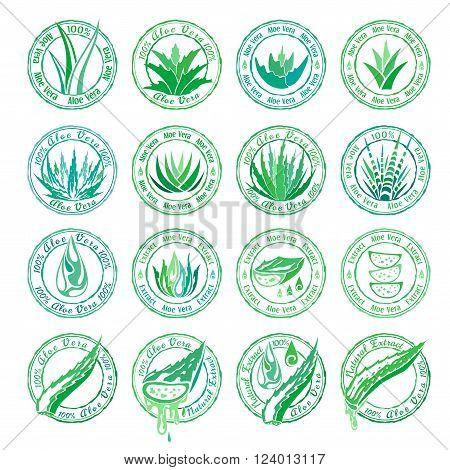 Aloe vera design elements. Aloe stamps set. Stencil style.