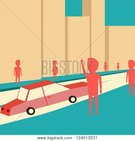 Man want to catch a taxi. Waiting for the car. Cartoon design