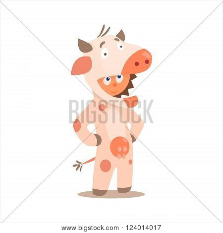Boy Desguised As Cow Flat Isolated Vector Image In Cartoon Style On White Background