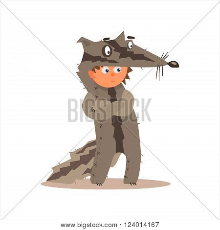 Boy Desguised As Badger Flat Isolated Vector Image In Cartoon Style On White Background