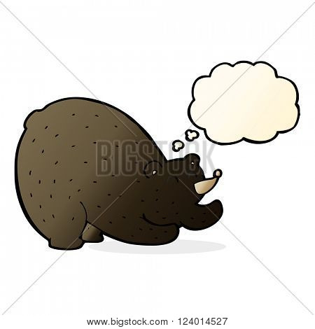 cartoon stretching black bear with thought bubble