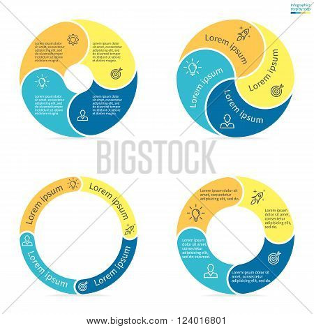 Circular infographics step by step with rounded colored sections. Set of flat pie charts. Chart, diagram with 4 steps, options, parts, processes. Vector circle template in blue and yellow.