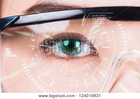 Close-up of woman's eye. High technologies in the futuristic. : contact lens