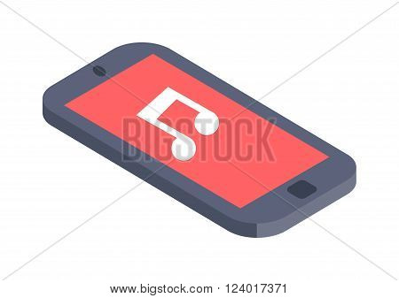 Isometric phone vector illustration flat design. Flat isometric infographic phone 3d icon. Isometric phone web mobile icon. Business isometric phone isolated on white. Computer technology.