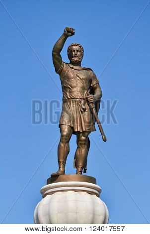 Bronze monument of the macedonian king Philip II and clear sky