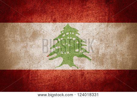 flag of Lebanon or Lebanese banner on rough pattern background