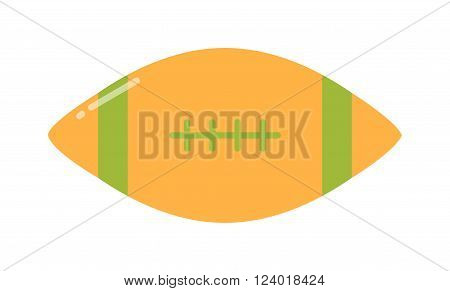 American football, rugby game sport equipment vector illustration. Football against a white background. American football game. American football sport. Rugby sport vector icon.
