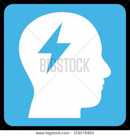 Brainstorming vector symbol. Image style is bicolor flat brainstorming iconic symbol drawn on a rounded square with blue and white colors.