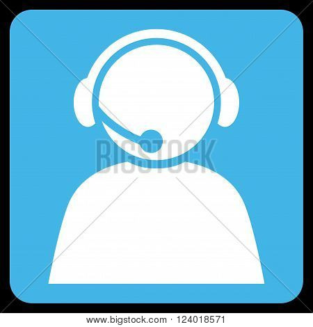 Call Center Operator vector icon symbol. Image style is bicolor flat call center operator iconic symbol drawn on a rounded square with blue and white colors.