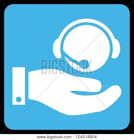 Call Center Service vector icon symbol. Image style is bicolor flat call center service icon symbol drawn on a rounded square with blue and white colors.