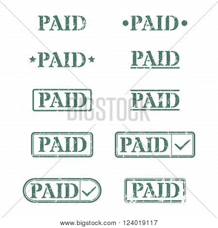 Set of rectangular stamps paid vector illustration.