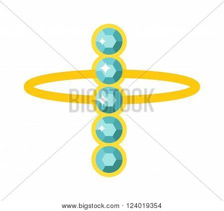 Gold necklace isolated on white background. Gold necklace flat vector illustration. Necklace of precious stones. Beautiful rich jewelry. Luxurious gold necklace vector illustration. Colored gemstones
