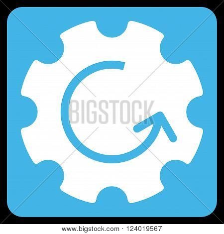 Gear Rotation vector icon. Image style is bicolor flat gear rotation iconic symbol drawn on a rounded square with blue and white colors.