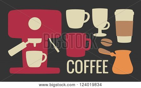 Set coffee icon. Coffee machine cezve or turkish coffee pot beans cup. For web poster menu cafe and restaurant info graphics poster coffe shop. Vector flat illustration