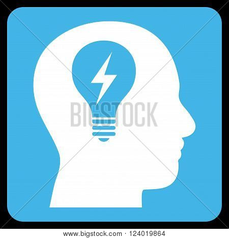 Head Bulb vector icon symbol. Image style is bicolor flat head bulb iconic symbol drawn on a rounded square with blue and white colors.