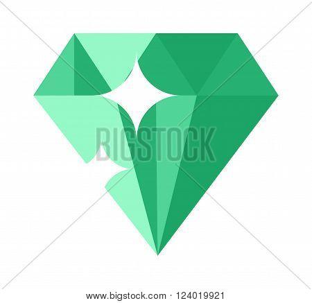 Flat design Green gemstone illustration  Colored gemstone isolated on white background.
