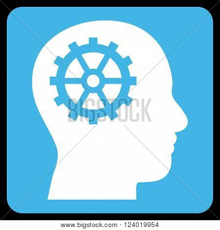 Intellect vector pictogram. Image style is bicolor flat intellect icon symbol drawn on a rounded square with blue and white colors.