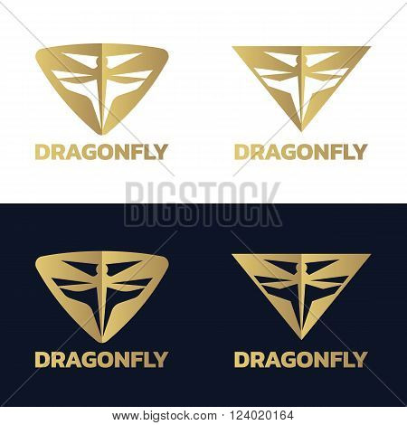 Gold Dragonfly in triangle logo vector design