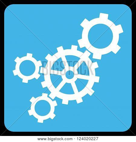 Mechanism vector pictogram. Image style is bicolor flat mechanism iconic symbol drawn on a rounded square with blue and white colors.