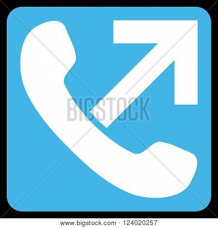 Outgoing Call vector symbol. Image style is bicolor flat outgoing call iconic symbol drawn on a rounded square with blue and white colors.