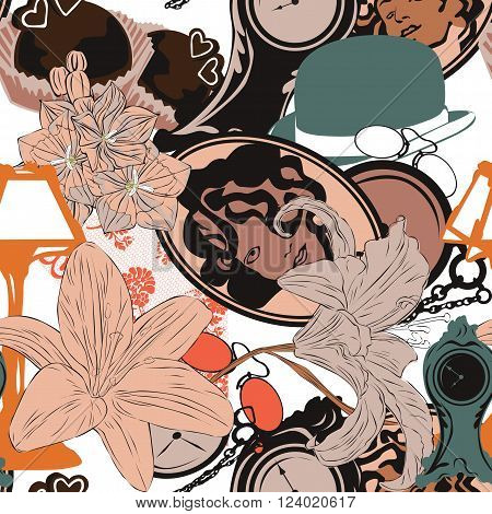 seamless pattern with objects in the Art Nouveau style