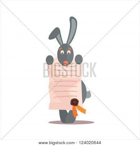 Rabbit Holding Diploma Funny Childish Colorful Flat Vector Illustration On White Background