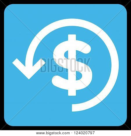 Refund vector symbol. Image style is bicolor flat refund pictogram symbol drawn on a rounded square with blue and white colors.