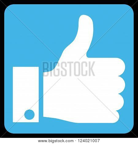 Thumb Up vector icon. Image style is bicolor flat thumb up icon symbol drawn on a rounded square with blue and white colors.