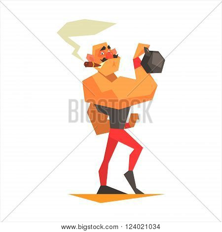 Circus Strongman Performing Graphic Flat Vector Design Isolated Illustration On White Background