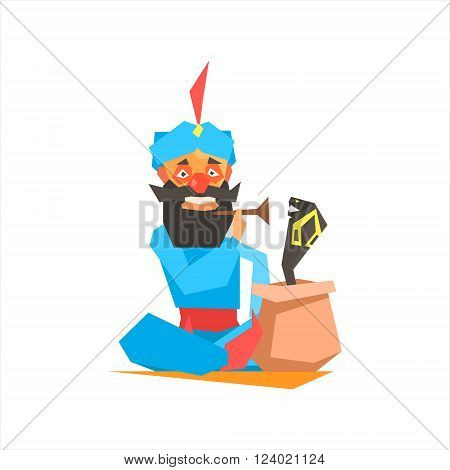 Circus Snake Charmer Performing Graphic Flat Vector Design Isolated Illustration On White Background