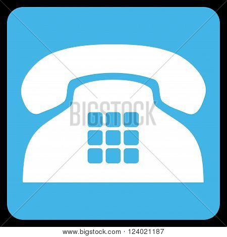 Tone Phone vector pictogram. Image style is bicolor flat tone phone pictogram symbol drawn on a rounded square with blue and white colors.