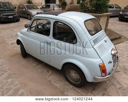 Pale Blue Fiat 500