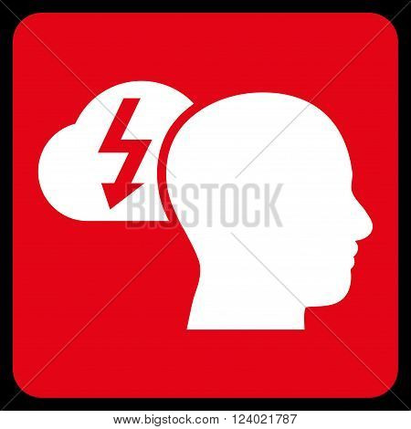 Brainstorming vector icon. Image style is bicolor flat brainstorming iconic symbol drawn on a rounded square with red and white colors.