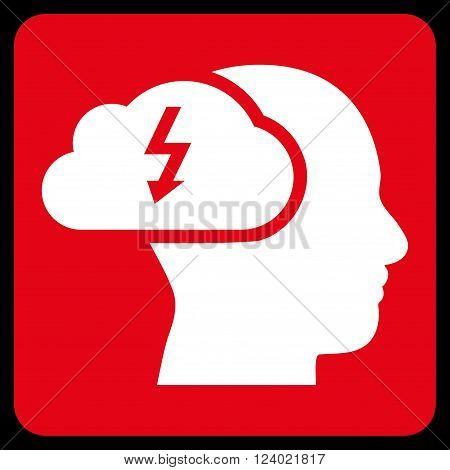 Brainstorming vector icon symbol. Image style is bicolor flat brainstorming icon symbol drawn on a rounded square with red and white colors.