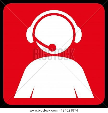 Call Center Operator vector symbol. Image style is bicolor flat call center operator pictogram symbol drawn on a rounded square with red and white colors.