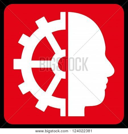 Cyborg Gear vector symbol. Image style is bicolor flat cyborg gear iconic symbol drawn on a rounded square with red and white colors.