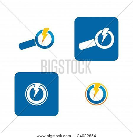 Energy finder icon set with abstract power arrows