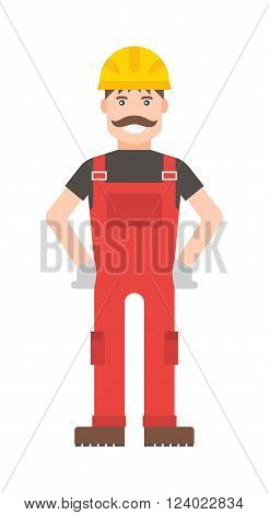 Cartoon worker character illustration. Smart worker cartoon character illustration. Cartoon worker professional man with a mustache in a yellow helmet and in a red suit. Cartoon worker.