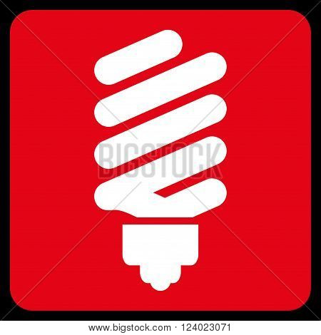 Fluorescent Bulb vector pictogram. Image style is bicolor flat fluorescent bulb icon symbol drawn on a rounded square with red and white colors.