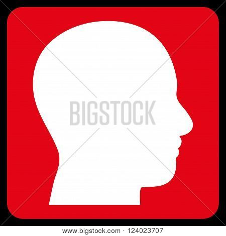 Head Profile vector pictogram. Image style is bicolor flat head profile iconic symbol drawn on a rounded square with red and white colors.