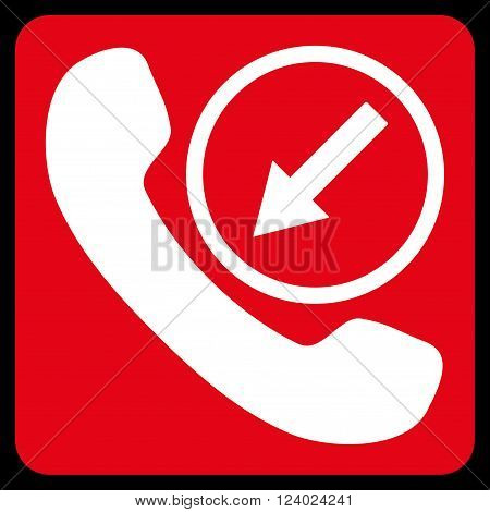Incoming Call vector icon symbol. Image style is bicolor flat incoming call pictogram symbol drawn on a rounded square with red and white colors.