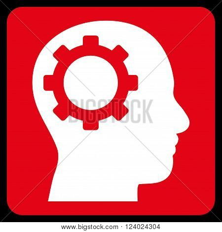 Intellect Gear vector pictogram. Image style is bicolor flat intellect gear pictogram symbol drawn on a rounded square with red and white colors.